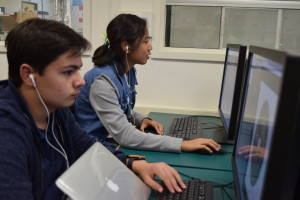 Anthony K. and Claire working on Autodesk.
